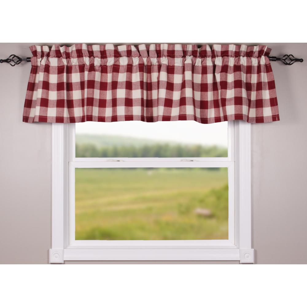 Barn Red-Buttermilk Buffalo Check Valance - Lined - Interiors by Elizabeth