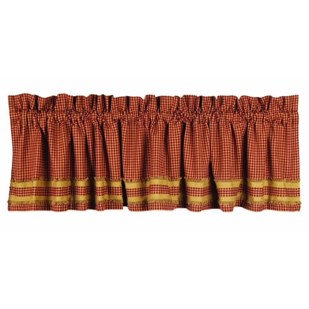 Barn Red-Oat Newbury Gingham Red w/Oat Trim Valance - Lined - Interiors by Elizabeth