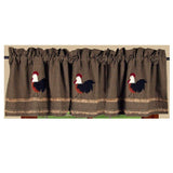 Black - Oat Rise and Shine Rooster Valance - Lined