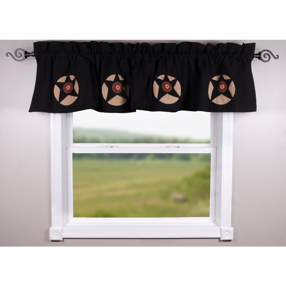Black Homespun Star Valance - Lined - Interiors by Elizabeth