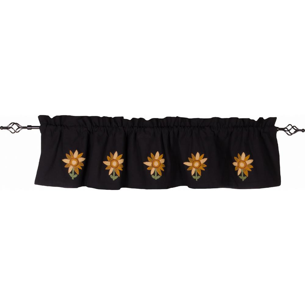 Sunflower Power Valance Black - Lined - Interiors by Elizabeth
