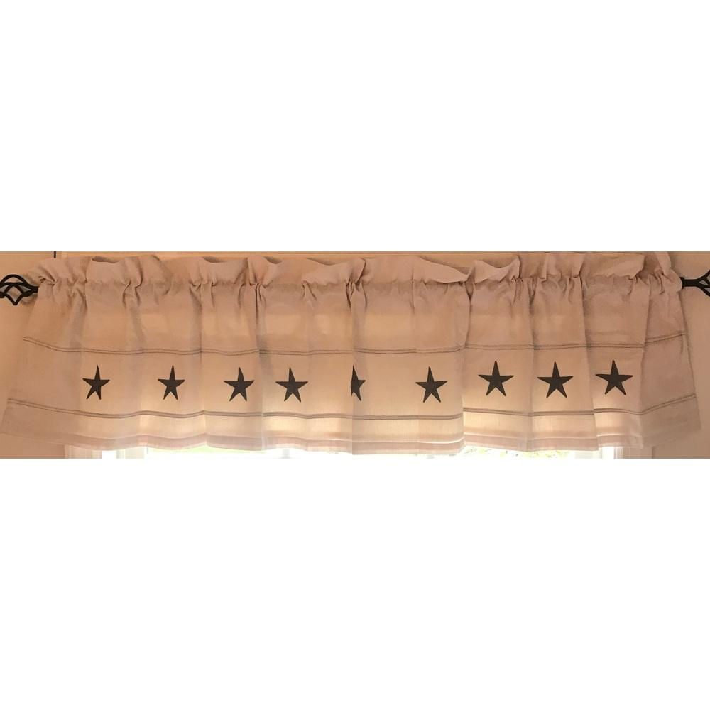 "Danville Star 72"" x 15.5"" Cream / Grey Star Lined - Interiors by Elizabeth"