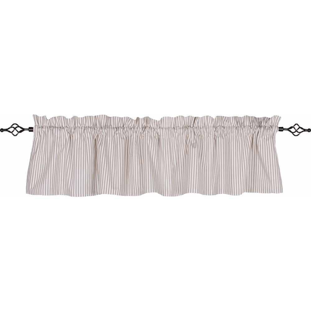 Ticking Valance Cream - Grey - Lined - Interiors by Elizabeth