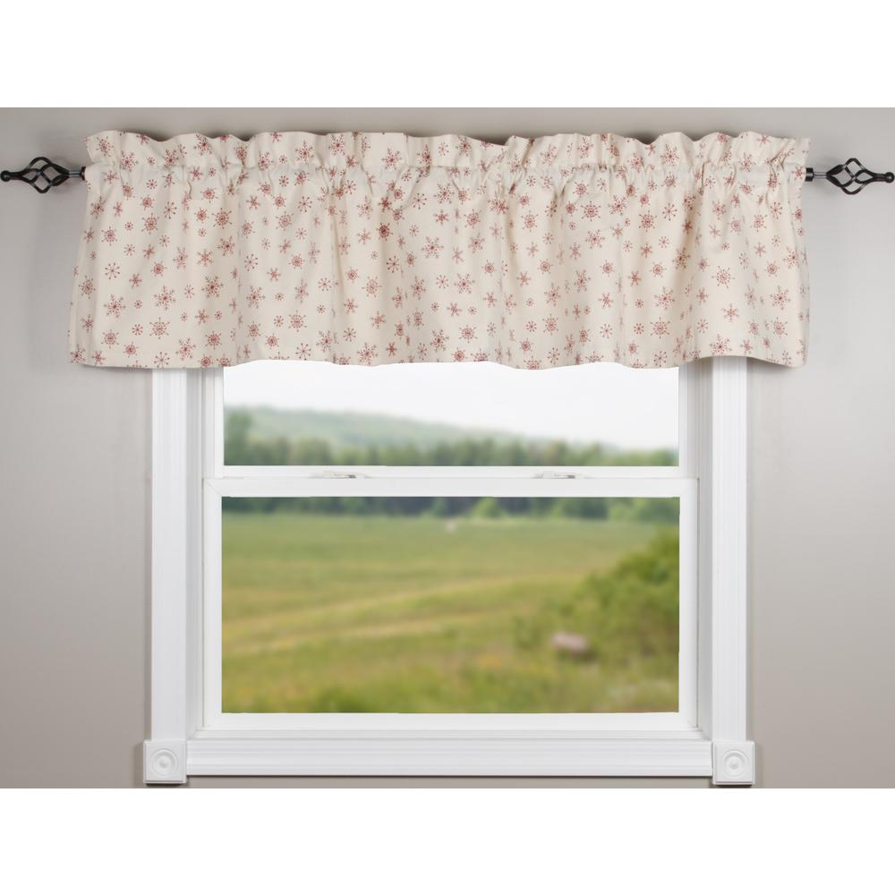 Snowflakes White-Red Valance - Lined - Interiors by Elizabeth