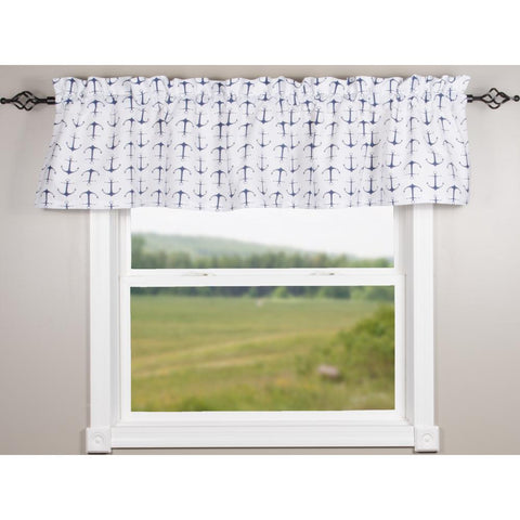 Anchors Away White-Navy Valance - Lined - Interiors by Elizabeth