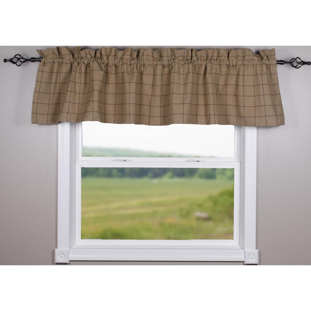 Oat-Black Alexander Check Valance - Lined - Interiors by Elizabeth