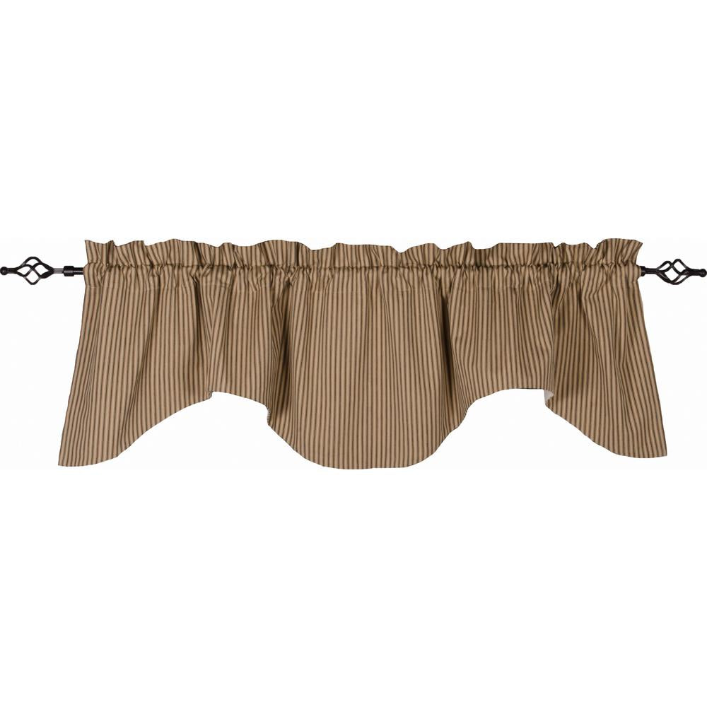 York Ticking Scalloped Valance Black - Nutmeg - Lined - Interiors by Elizabeth