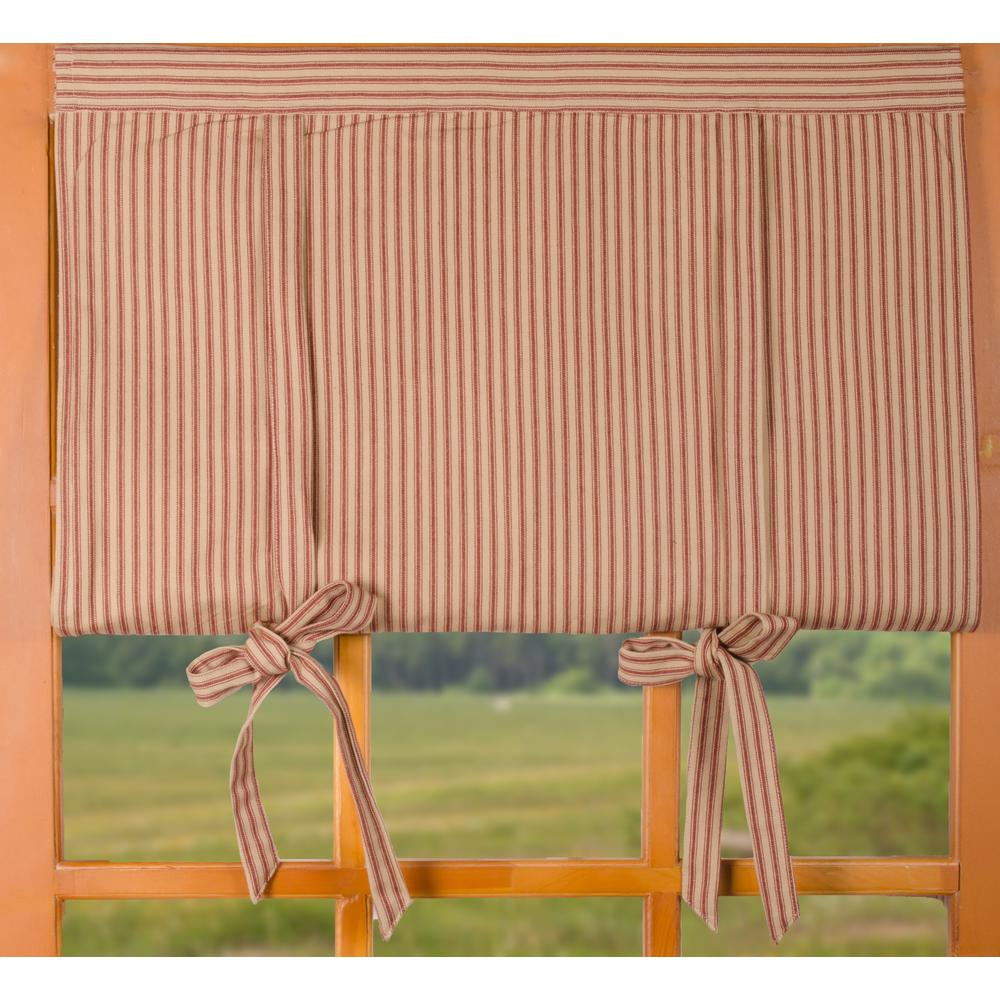 York Ticking Roll Tie Valance Barn Red - Nutmeg - Lined - Interiors by Elizabeth