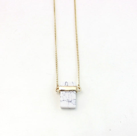 Golden Lock Marble Necklace