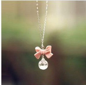 Sweet Bow Drop Necklace