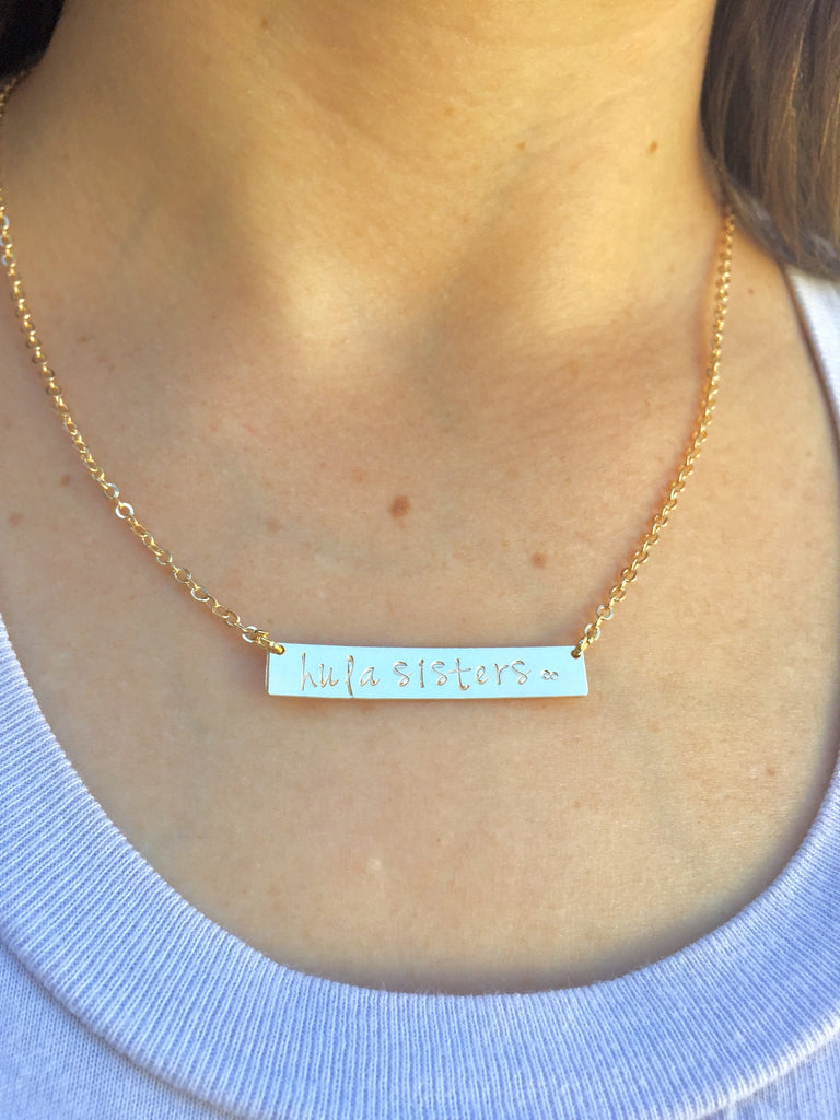 Hula Sisters Bar Necklace, Hula Sisters Necklace, Natashaaloha - Natashaaloha, jewelry, bracelets, necklace, keychains, fishing lures, gifts for men, charms, personalized,