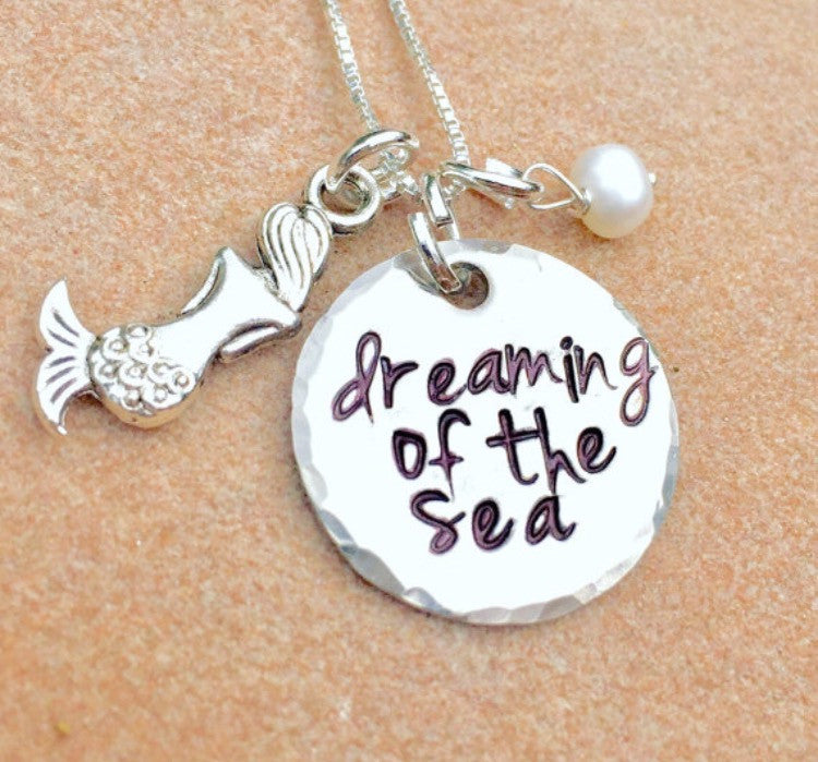 Dreaming Of The Sea Necklace, Mermaid Necklace - Natashaaloha, jewelry, bracelets, necklace, keychains, fishing lures, gifts for men, charms, personalized,