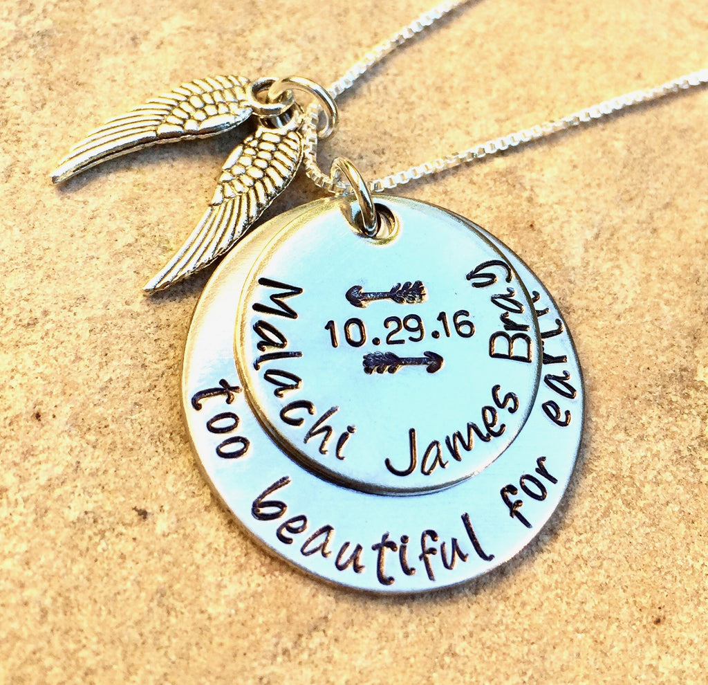 Too Beautiful For Earth Necklace, Memorial Necklace, Personalized Necklace, Natashaaloha