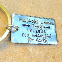 Memorial Keychain, Too Beautiful For Earth, Memorial Gifts - Natashaaloha, jewelry, bracelets, necklace, keychains, fishing lures, gifts for men, charms, personalized,
