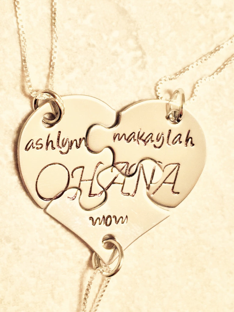 Ohana Heart Necklace, Valentine Necklace - Natashaaloha, jewelry, bracelets, necklace, keychains, fishing lures, gifts for men, charms, personalized,