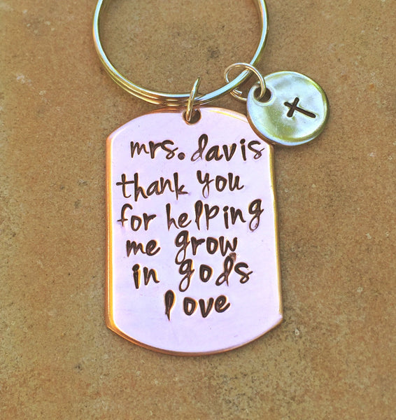 Thank You For Helping Me Grow In God's Love Keychain, Teacher Gift