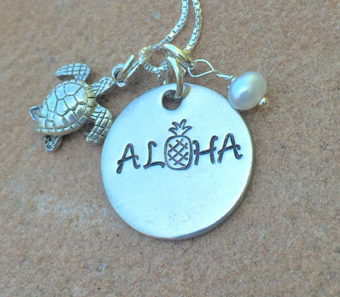 Aloha Necklace, Pineapple Necklace, Hawaiian Jewelry, Hawaiian Necklace, Natashaaloha - Natashaaloha, jewelry, bracelets, necklace, keychains, fishing lures, gifts for men, charms, personalized,
