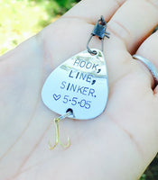 Hook Line and Sinker Fishing Lure, Personalized - Natashaaloha, jewelry, bracelets, necklace, keychains, fishing lures, gifts for men, charms, personalized,