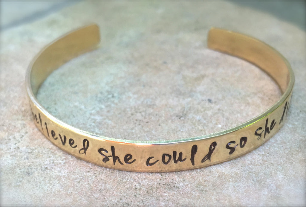 Graduation Gift, She Believed She Could So She Did Bracelet, Graduation 2016, Gifts for Graduation, Personalized Cuff, natashaaloha - Natashaaloha, jewelry, bracelets, necklace, keychains, fishing lures, gifts for men, charms, personalized,