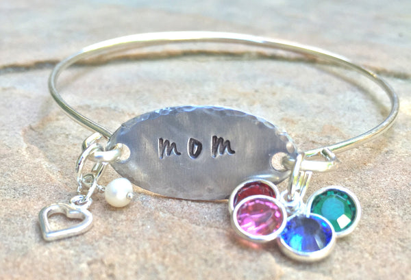 Personalized Mom Bracelet, Personalized Mom Bangle - Natashaaloha, jewelry, bracelets, necklace, keychains, fishing lures, gifts for men, charms, personalized,