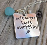 Salt Water Heals Everything Necklace, Natashaaloha - Natashaaloha, jewelry, bracelets, necklace, keychains, fishing lures, gifts for men, charms, personalized,