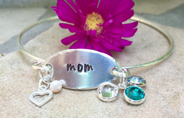 Personalized Mom Bracelet, Personalized Mom Bangle