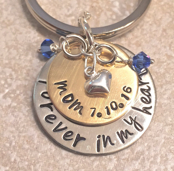 Memorial Keychain, Forever In My Heart, Loss Of Loved One, Loss of Mom, Loss of Dad, Memorial Gift, natashaaloha - Natashaaloha, jewelry, bracelets, necklace, keychains, fishing lures, gifts for men, charms, personalized,