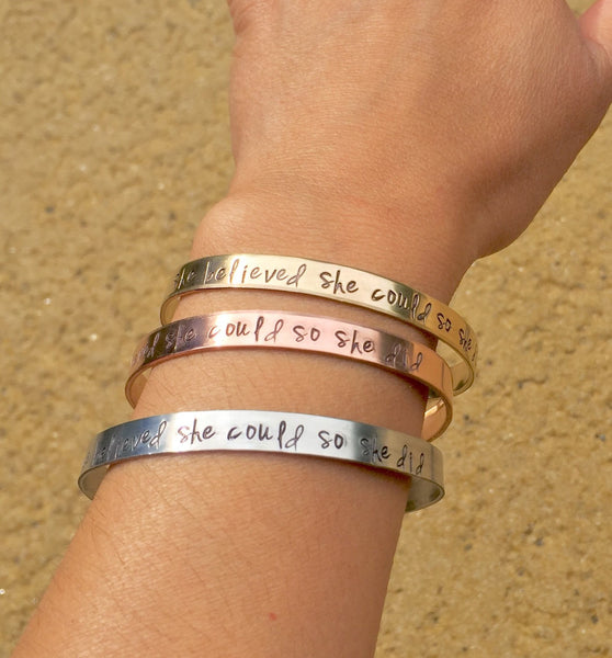 She Believed She Could So She Did Bracelet, Graduation 2016, Gifts for Graduation, Personalized Cuff, natashaaloha - Natashaaloha, jewelry, bracelets, necklace, keychains, fishing lures, gifts for men, charms, personalized,