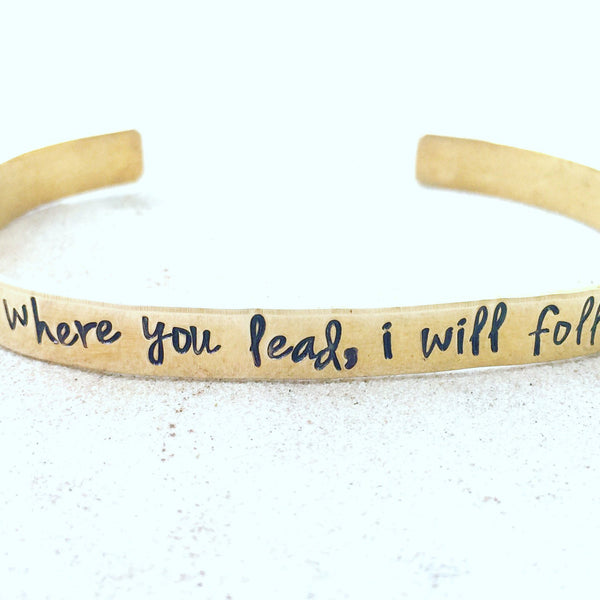 Where You Lead I Will Follow Bracelet - Natashaaloha, jewelry, bracelets, necklace, keychains, fishing lures, gifts for men, charms, personalized,