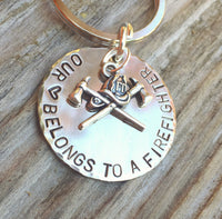 Firefighter Keychain, Our Heart Belongs To A Firefighter, Personalized Firefighter Gift, Firefighter Gift, natashaaloha - Natashaaloha, jewelry, bracelets, necklace, keychains, fishing lures, gifts for men, charms, personalized,