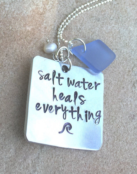 Salt Water Heals Everything Necklace, Beach Necklace, Beach Jewelry, Mothers Day Necklace, inspirational necklace, natashaaloha - Natashaaloha, jewelry, bracelets, necklace, keychains, fishing lures, gifts for men, charms, personalized,