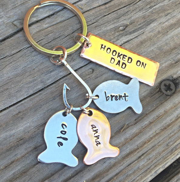 Hooked On Dad, Fishing Keychain, Our Best Catch Dad, Fish Keychain, Personalized Fishing Keychain, Hand Stamped, natashaaloha - Natashaaloha, jewelry, bracelets, necklace, keychains, fishing lures, gifts for men, charms, personalized,