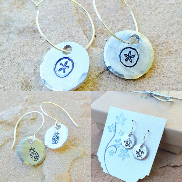 Sand Dollar Earrings, Turtle Earrings, Pineapple Earrings, Hawaiian Earrings, natashaaloha - Natashaaloha, jewelry, bracelets, necklace, keychains, fishing lures, gifts for men, charms, personalized,