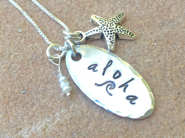 Aloha Necklace, Wave Necklace, Hawaii Necklace, Hawaiian necklace - Natashaaloha, jewelry, bracelets, necklace, keychains, fishing lures, gifts for men, charms, personalized,
