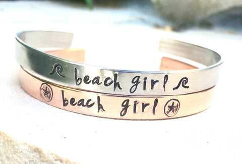 Beach Girl Cuff - Natashaaloha, jewelry, bracelets, necklace, keychains, fishing lures, gifts for men, charms, personalized,