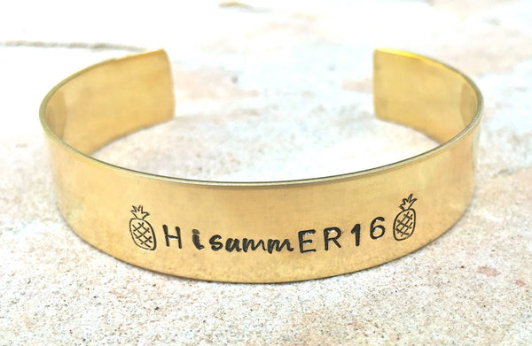 Hawaiian Jewelry, Hawaiian Cuff, Custom Cuff, Personalized Bracelets, Pineapple Bracelet, Hand Stamped Bracelet, natashaaloha, Hawaii - Natashaaloha, jewelry, bracelets, necklace, keychains, fishing lures, gifts for men, charms, personalized,