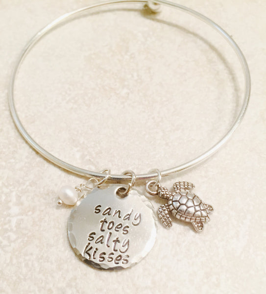 Sandy Toes Salty Kisses Bracelet, Beach Bracelet, Hawaiian Jewelry, Natashaaloha - Natashaaloha, jewelry, bracelets, necklace, keychains, fishing lures, gifts for men, charms, personalized,