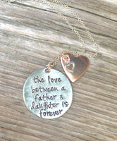 The Love Between A Father and Daughter is Forever Necklace - Natashaaloha, jewelry, bracelets, necklace, keychains, fishing lures, gifts for men, charms, personalized,