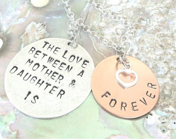 mother daughter, mother daughter necklace, mom, personalized jewelry, the love between a mother and daughter is forever, gifts for mom - Natashaaloha, jewelry, bracelets, necklace, keychains, fishing lures, gifts for men, charms, personalized,