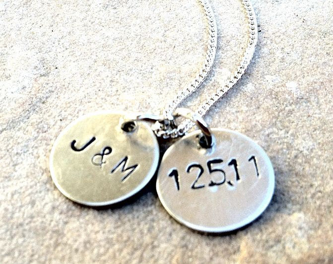 Monogram Necklace, Wedding Necklace, Anniversary Necklace, Personalized Hand Stamped Necklace, natashaaloha