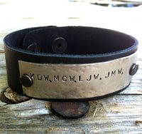 Men's Bracelet, Personalized Leather Bracelet, Christmas Gifts For Dad - Natashaaloha, jewelry, bracelets, necklace, keychains, fishing lures, gifts for men, charms, personalized,