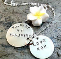 You Are My Sunshine Mother Daughter Necklace - Natashaaloha, jewelry, bracelets, necklace, keychains, fishing lures, gifts for men, charms, personalized,