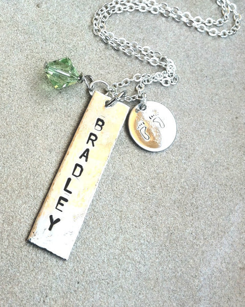 necklace, for her, new mom necklace, personalized necklace,baby, engraved necklace, gifts for new mom, baby show gift, child name necklace - Natashaaloha, jewelry, bracelets, necklace, keychains, fishing lures, gifts for men, charms, personalized,
