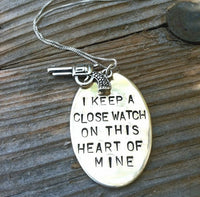 I Keep A Close Watch On This Heart Of Mine, Valentine gifts, Handmade Hand Stamped, Close Watch, This Heart of Mine, Johny Cash Necklace - Natashaaloha, jewelry, bracelets, necklace, keychains, fishing lures, gifts for men, charms, personalized,