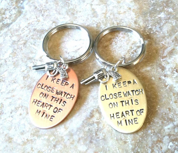I Keep A Close Watch On This Heart Of Mine Keychain - Natashaaloha, jewelry, bracelets, necklace, keychains, fishing lures, gifts for men, charms, personalized,