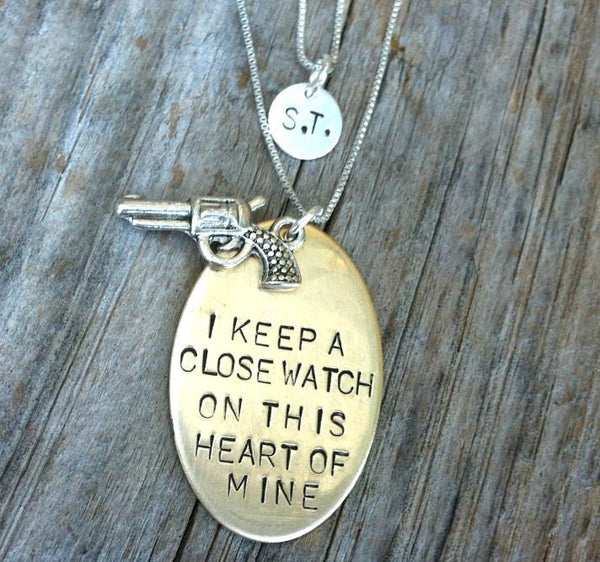 Johnny Cash Necklace, With Initial Necklace - Natashaaloha, jewelry, bracelets, necklace, keychains, fishing lures, gifts for men, charms, personalized,