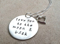Mother Daughter Necklace, I Love You To The Moon And Back Jewelry, Daughter Necklace, Natashaaloha, Personalized Hand Stamped Jewelry - Natashaaloha, jewelry, bracelets, necklace, keychains, fishing lures, gifts for men, charms, personalized,