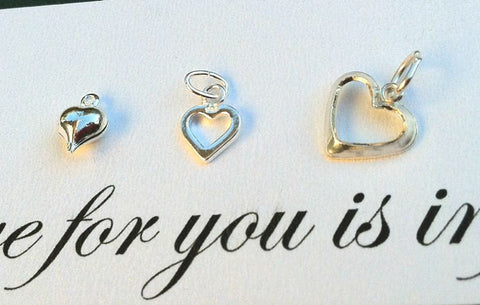 Sterling Silver Heart Charms, Heart Charms, Sterling Hearts, natashaaloha - Natashaaloha, jewelry, bracelets, necklace, keychains, fishing lures, gifts for men, charms, personalized,