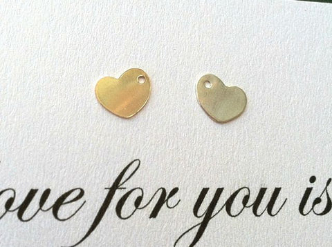 sterling silver heart charm, 14kt gold heart charm, hand stamped heart, initial heart, add a charm, custom options for hand stamped jewelry