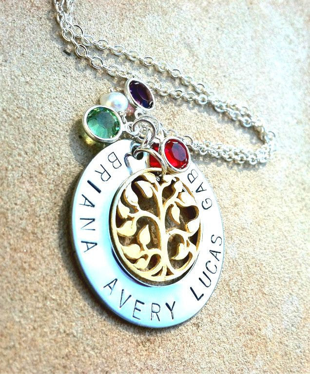 Personalized Hand Stamped Necklace, Personalized Tree of Life Necklace, Personalized Mom Necklace, Mothers Day, natashaloha - Natashaaloha, jewelry, bracelets, necklace, keychains, fishing lures, gifts for men, charms, personalized,